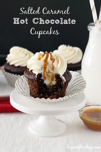 Salted Caramel Hot Chocolate Cupcakes