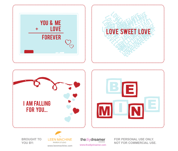 Valentine Printables - FREE V-Day Cards