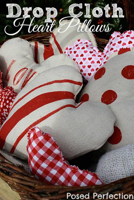 Drop Cloth Heart Pillows