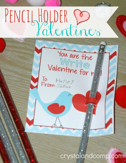 Pencil Holder Valentines Printables