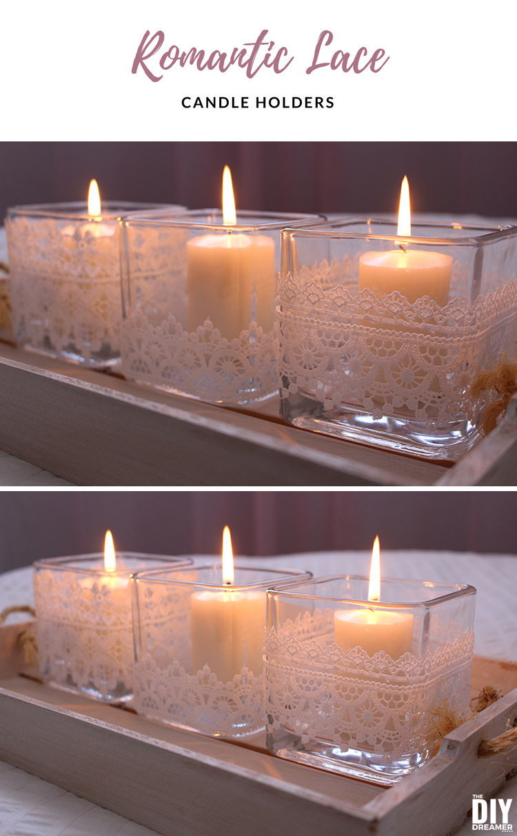 Learn how to make elegant candle holders with lace trim! Beautiful way to decorate for Valentine's Day. These DIY Romantic Lace Candle Holders will add the perfect touch of romance to any decor.
