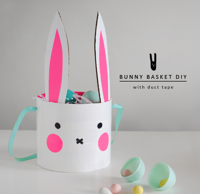 Easter Bunny Basket made with Duct Tape.