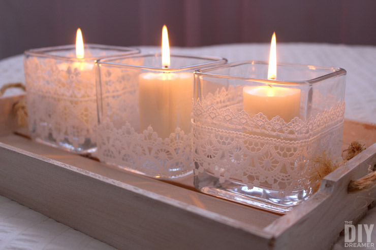 DIY Romantic Lace Candles. Easy Valentine's Day craft.