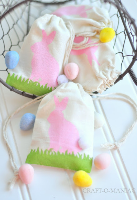 Adorable Stenciled Easter Favor Bags