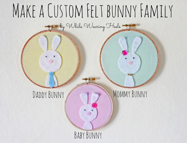 Embroidery Hoop Easter Art - Bunny Felt Family
