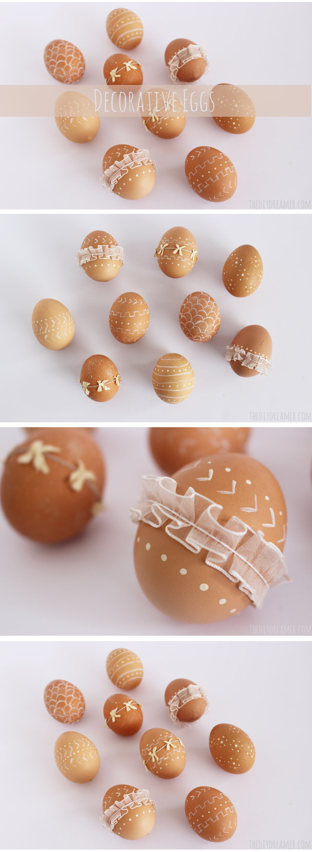 Decorative Eggs - Trendy Easter Eggs decorated with paint and ribbon. Rustic Easter idea!