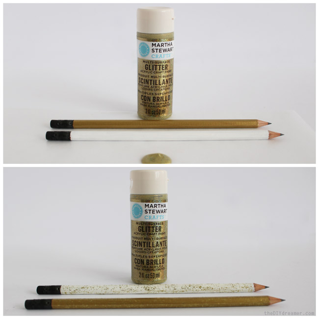 Gold Glittered Pencils