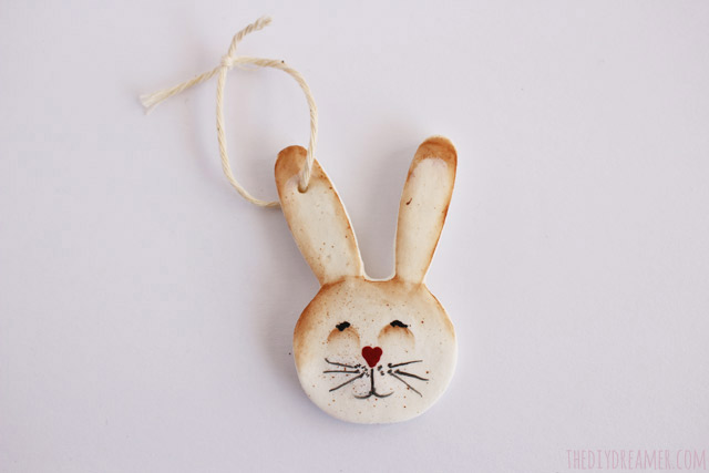 Easter Bunny painted on a baking soda ornament