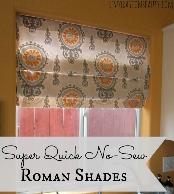 Super quick No Sew Roman Shades