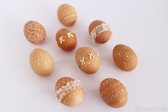 Decorative Eggs - Rustic Easter Eggs decorated with paint and ribbon