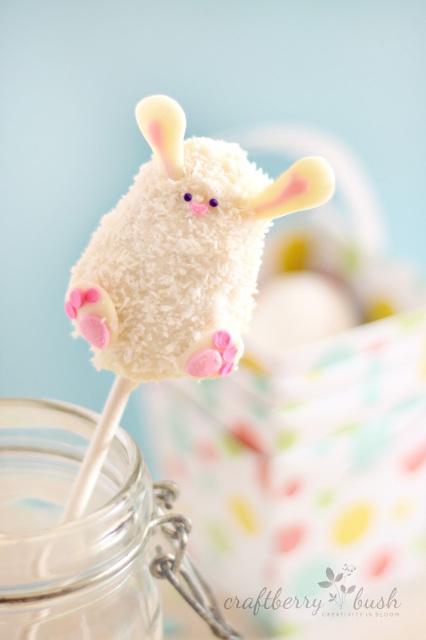 Easter bunny rice krispie pop