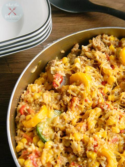 Enchilada Style Chicken, Vegetable & Rice Skillet
