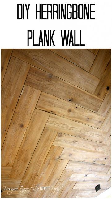 DIY Herringbone Plank Wall Tutorial