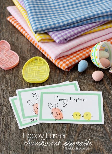 Hoppy Easter Thumbprint Card Printable