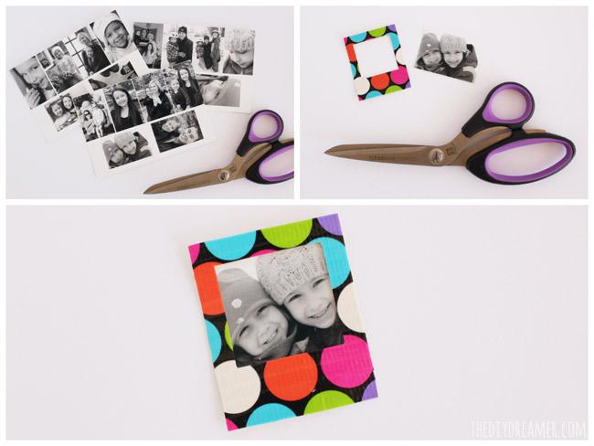 Insert mini photo into instant photo frame