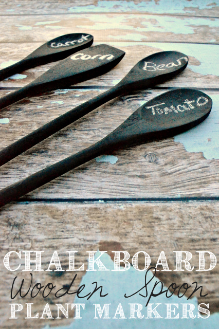 Chalkboard wooden spoons plant markers