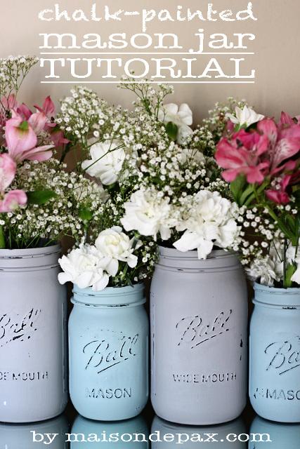 Chalk-Painted Mason Jars
