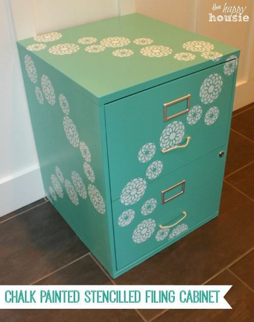 Flowered Chalk Painted Stencilled Filing Cabinet