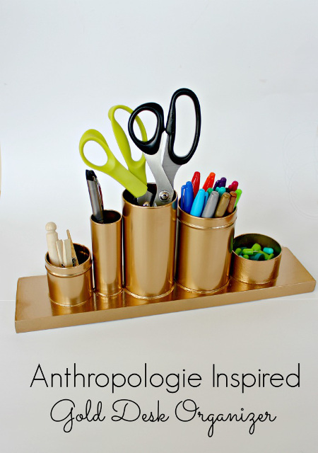 Anthropologie Inspired Gold Pencil Holder - Desk Organizer
