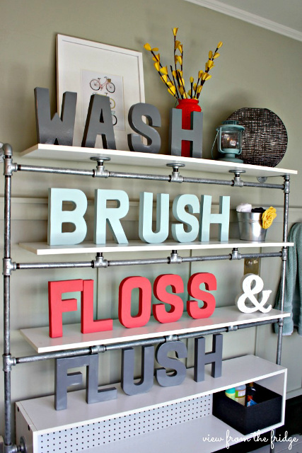 Wash, Brush, Floss and Flush - DIY Bathroom Decor - DIY Painted Letters