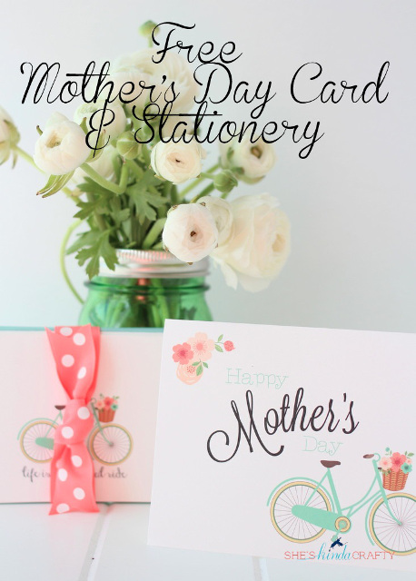 Beautiful Bicycle Card and Stationery Printable for Mom!