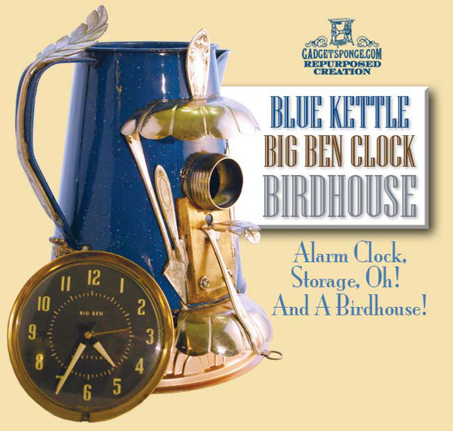 Enamel Porcelain Blue Kettle & Big Ben Alarm Clock Repurposed Upcycled Birdhouse Art Piece