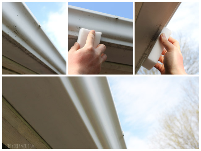 Get clean rain gutters by washing them with a magic sponge!