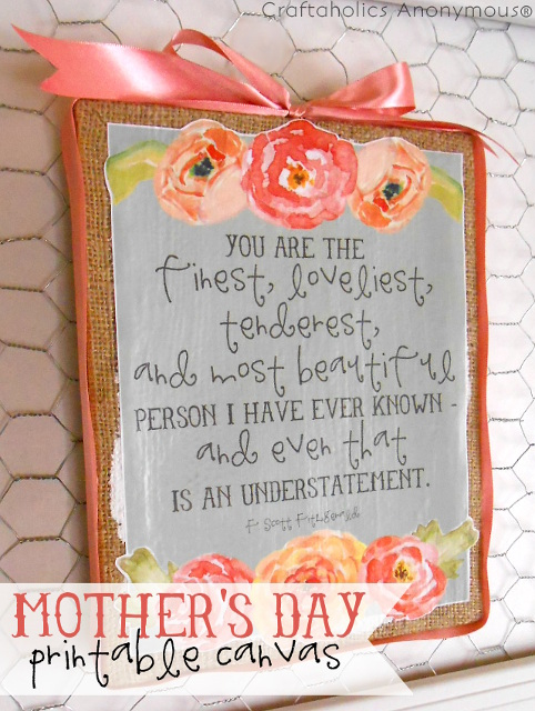 Beautiful Mother's day Printable Canvas