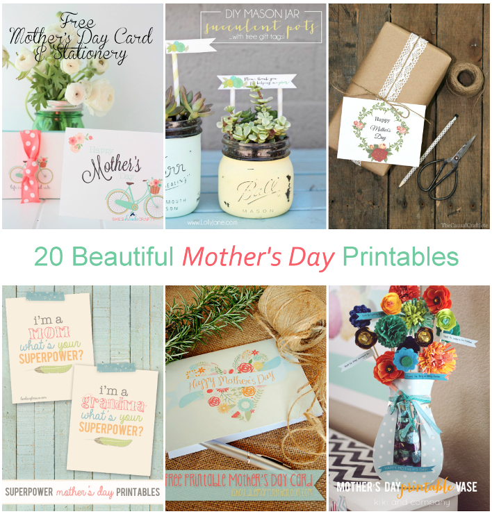 LAST MINUTE HELP! 20 Beautiful Mother's Day Printables!
