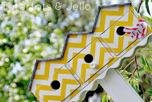 Beautiful Mod-Podge Chevron Birdhouse