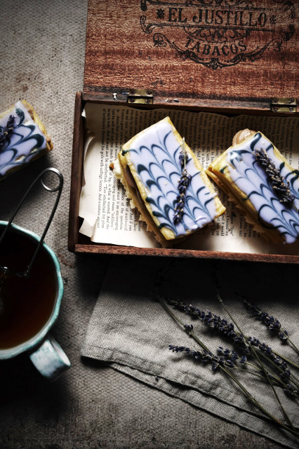 earl grey and vanilla bean mille feuille with lavender