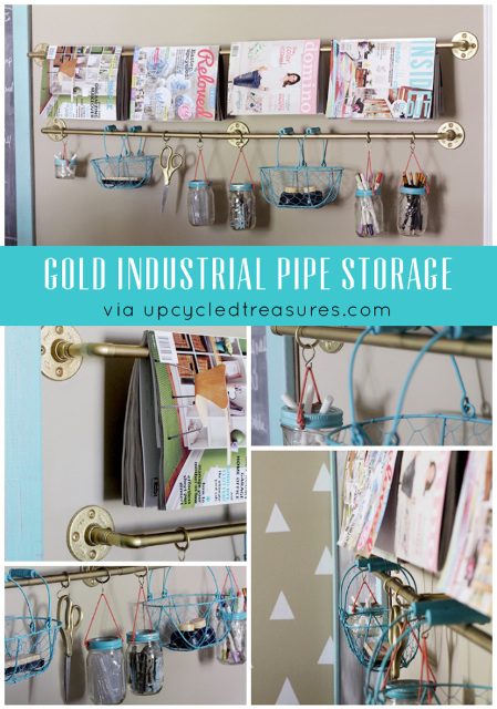 Gold Industrial Pipe Rail Storage