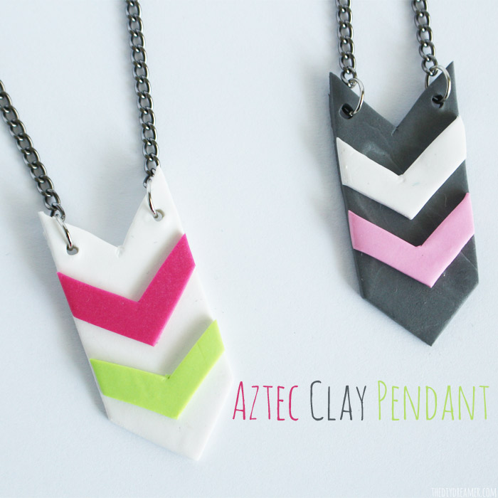 Aztec Clay Pendant – Easy Clay Jewelry – #SculpeyProjects