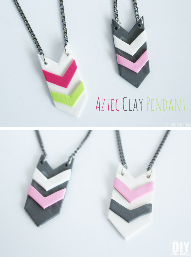 Aztec Clay Pendant. Trendy Aztec Style Jewelry tutorial made with clay!