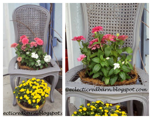 Recycled Chair as Flower Pot - Chair Planter