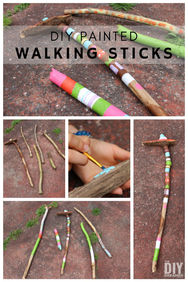 How to make walking sticks. These DIY painted walking sticks are really fun to make and make a great camping craft too.