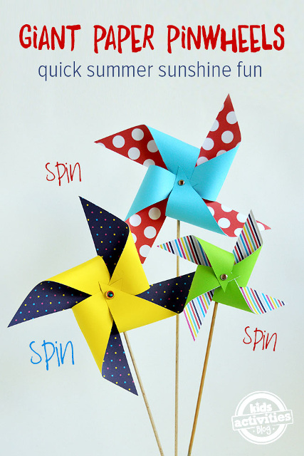 Quick and Easy Giant Paper Pinwheels