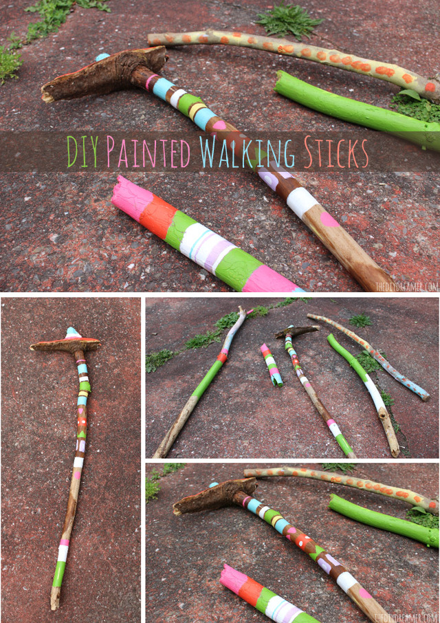 DIY Painted Walking Sticks - Perfect Camping Craft! Glamping Time! Kids Crafts!