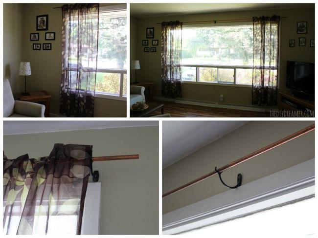 Copper curtain pole
