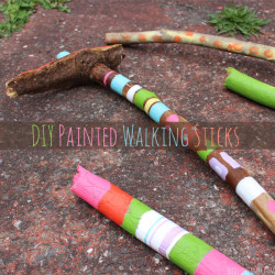 DIY Painted Walking Sticks - Perfect Camping Craft!