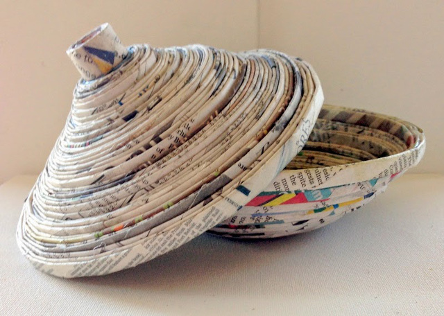Recycled Newspaper Bowl with Lid