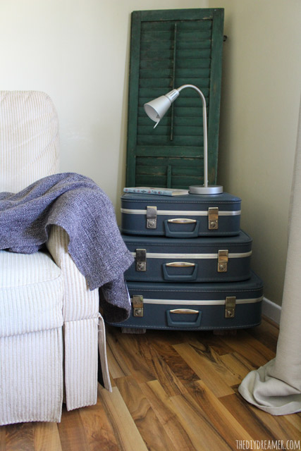 Suitcase Side Table - Unique side table! Stack suitcases and you instantly have a side table!