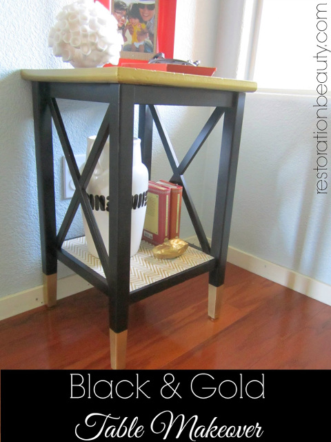 Black and Gold Table Makeover