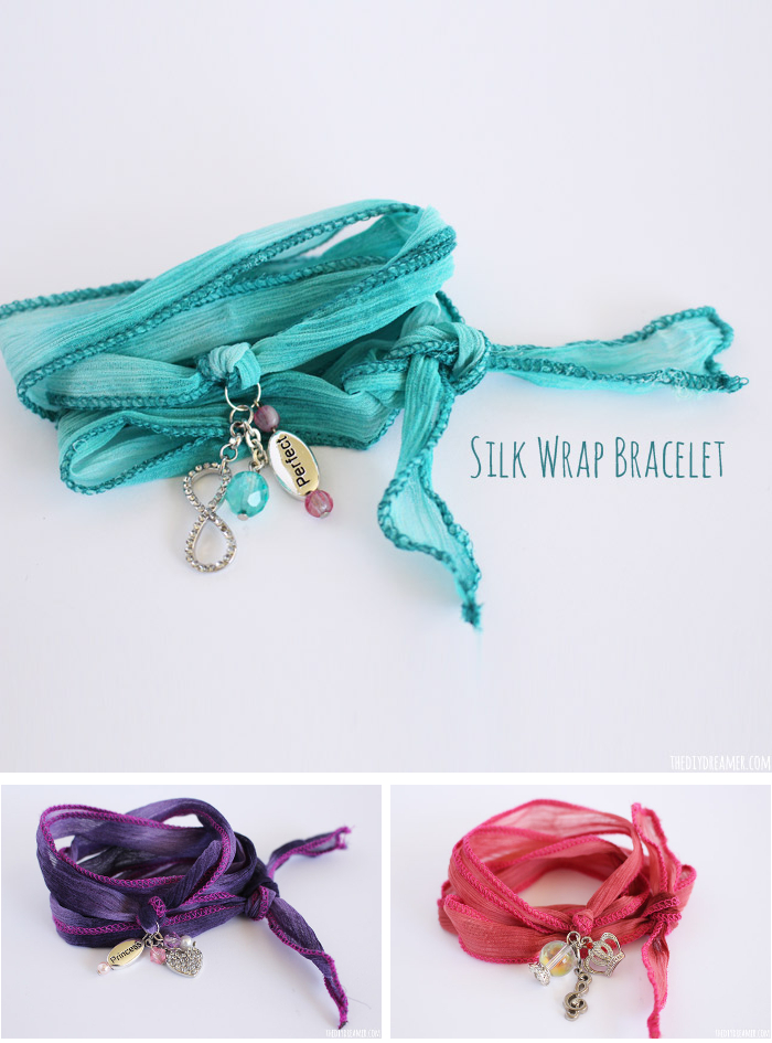 Making Silk Wrap Bracelets is so much fun! These bracelets are made to be personalized! They make such great gifts! Learn how to make them with this easy to follow tutorial. The Silk Wrap Bracelets were created by my 9 year old daughter! Oh so pretty and oh so easy!