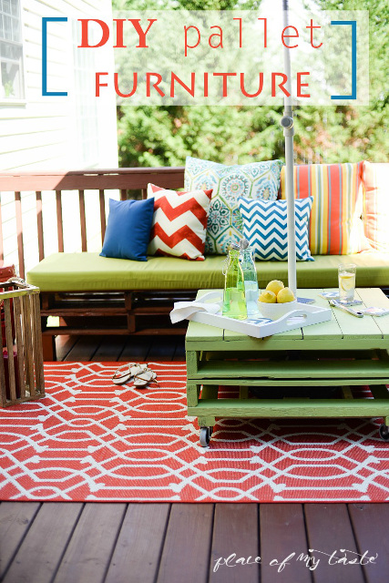 Gorgeous DIY Pallet Furniture perfect for your patio! Learn how to make your own!