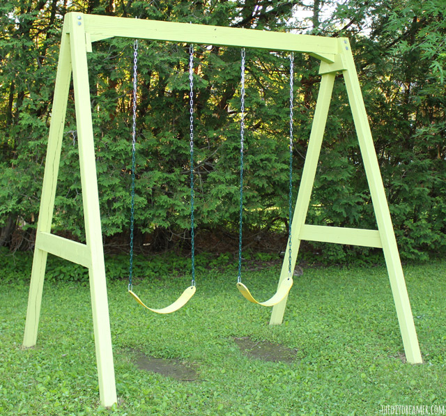 DIY Wood Swing Set - Old to New Again with Paint!!