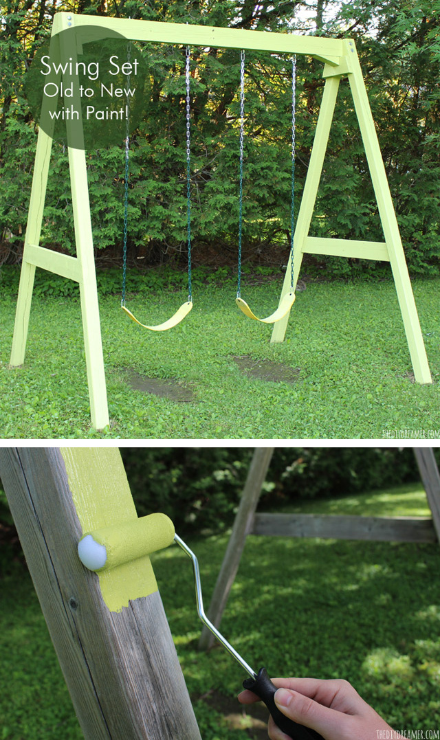 Give your backyard a breath of new life with this easy backyard swing set makeover. Give an old wood swing set new life with a fresh coat of paint. Learn how to paint a swing set with this step by step tutorial.