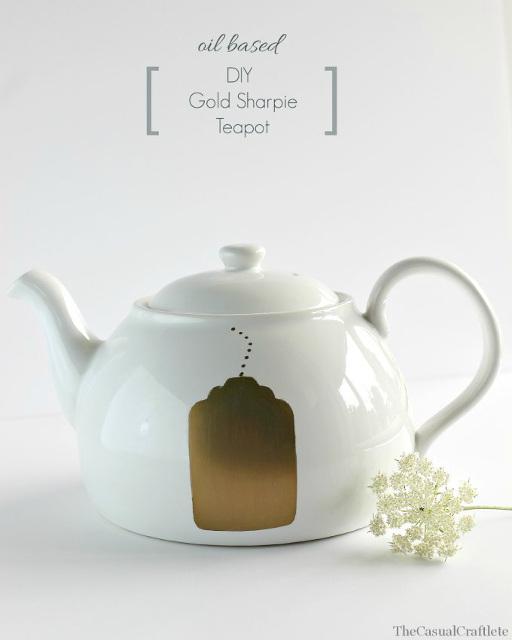 Oil Based DIY Gold Sharpie Teapot