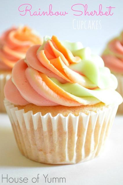 Rainbow Sorbet Cupcakes