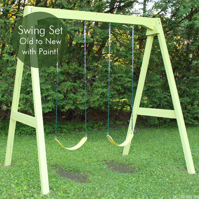 Wood Swing Set - Old to New Again with Paint!!